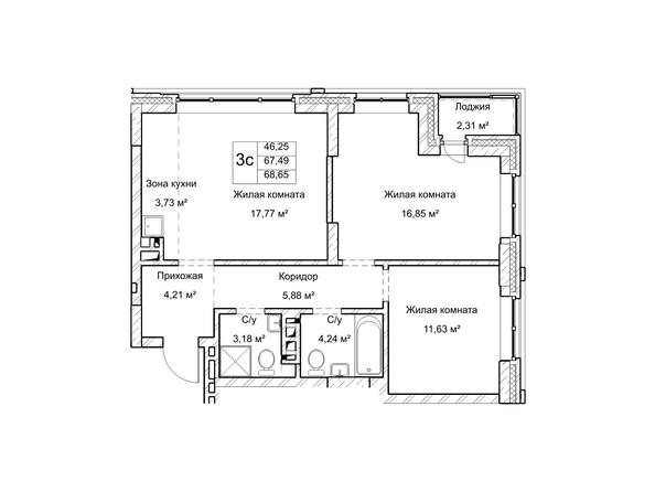 Планировки Жилой комплекс ГУДИМОВ - Планировка трехкомнатной квартиры 67,4 кв.м