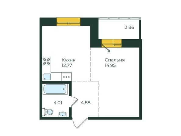 1-комнатная 40,47 кв.м.