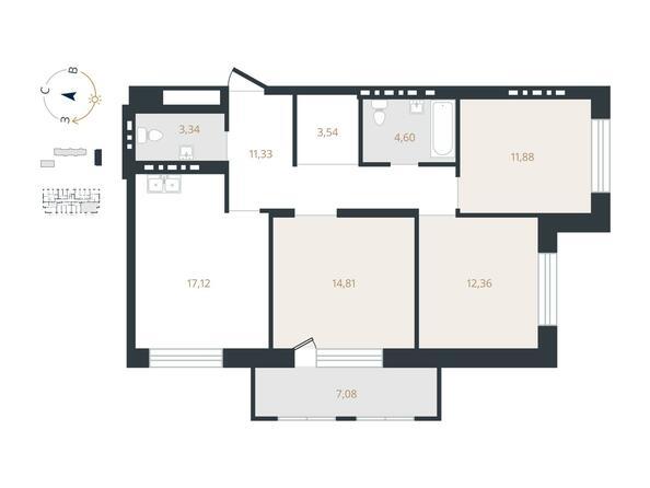 3-комнатная 78,98 кв.м