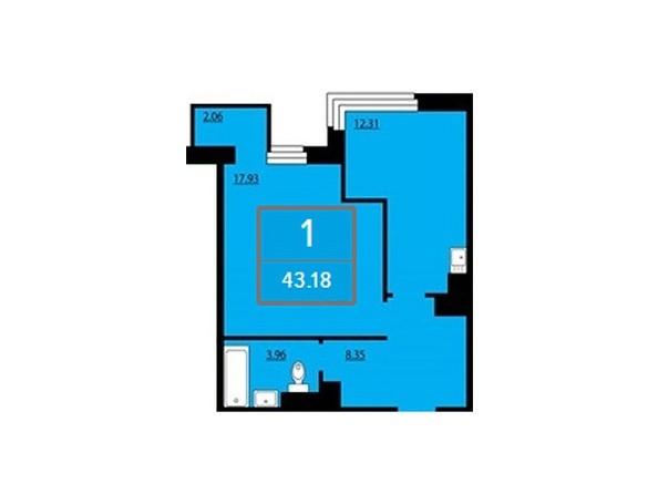 Планировка однокомнатной квартиры 43,18 кв.м