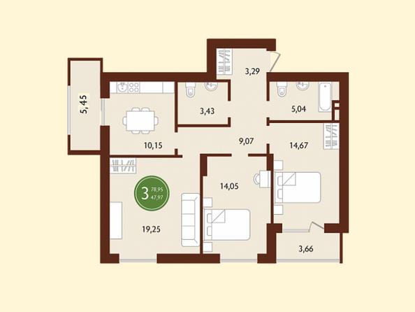 Планировки СОСНОВЫЙ БОР, 1 корпус - 3-комнатная 78,95 кв.м