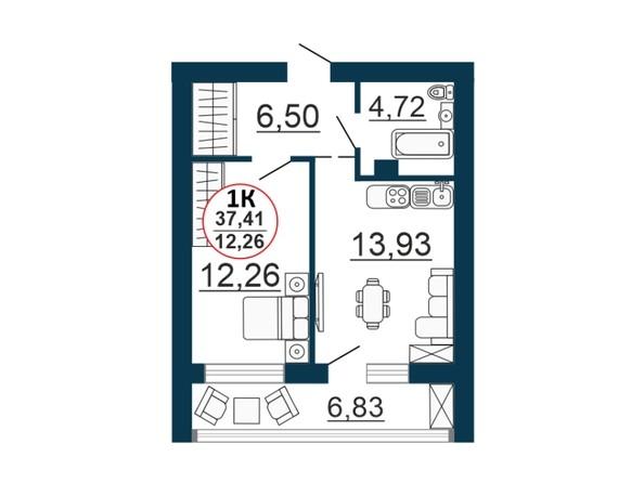 Планировка 1-комн 37,41 м²