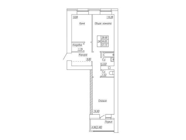 Планировка 2-комн 57,08 - 57,13 м²