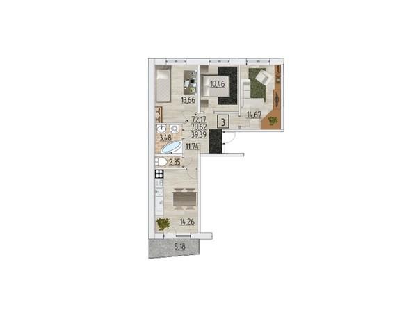 Планировка трехкомнатной квартиры 72,17 кв.м