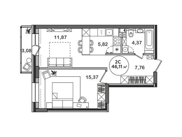 Планировка 2-комн 46,11 м²