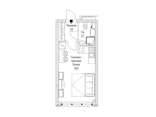 1-комнатная 24.5 кв.м