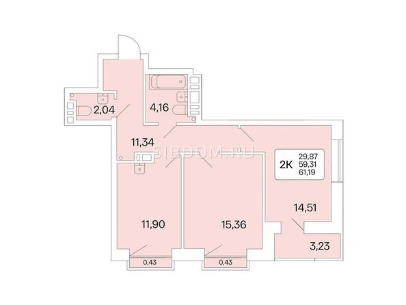 Планировка 2-комн 61,19 м²