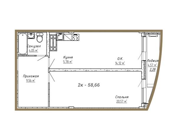 Планировки Жилой комплекс ДОМ НА СИБИРСКОЙ - Планировка двухкомнатной квартиры 58,66 кв.м