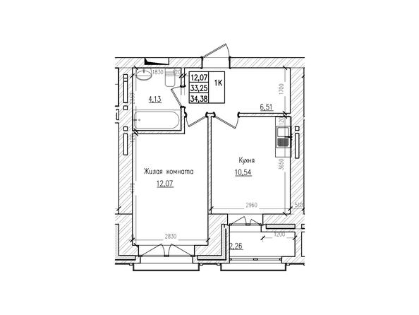 Планировки Жилой комплекс КРАСНЫЙ ПРОСПЕКТ, дом 2 - 1-комнатная 33,2 кв.м