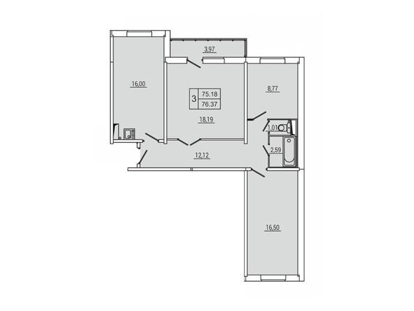 Планировка 3-комн 76,37 м²
