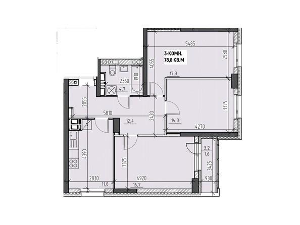 Планировки Жилой комплекс НА ВЫСОТЕ, 2 этап - Планировка трехкомнатной квартиры 78,8 кв.м