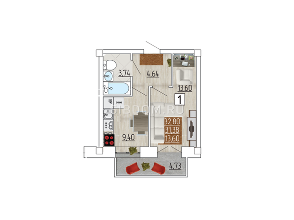 Планировка 1-комн 32,8 м²