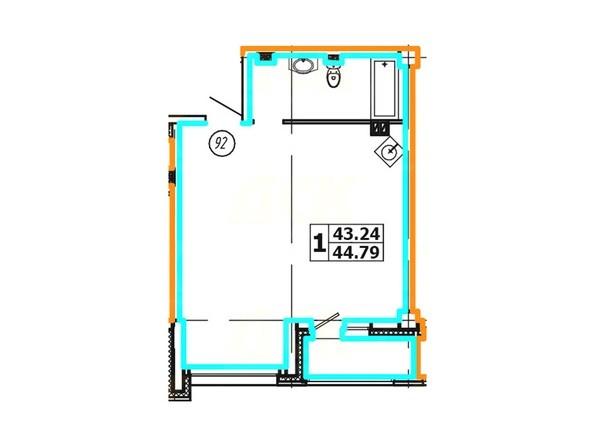 Планировка 1-комнатной квартиры 44,79 кв. м