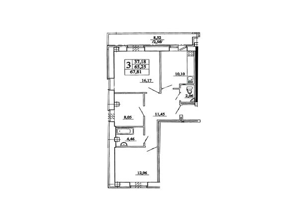 Планировка 3-комн 67,81 м²
