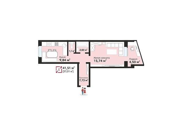 Планировки Жилой комплекс ЧИСТАЯ СЛОБОДА, дом 17 - Планировка однокомнатной квартиры 41,51 кв.м