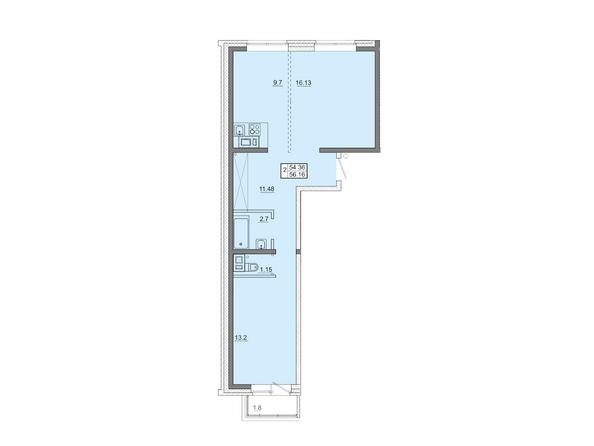 2-комнатная 56,16 кв.м