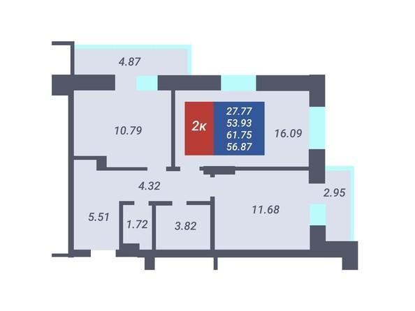 Планировка 2-комн 53,93, 54,26 м²