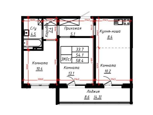 3-комнатная 58,4 кв.м