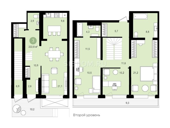 Планировка 3-комн 142,5, 142,52 м²