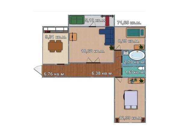 Планировка 3-комнатной квартиры 71,65 кв.м