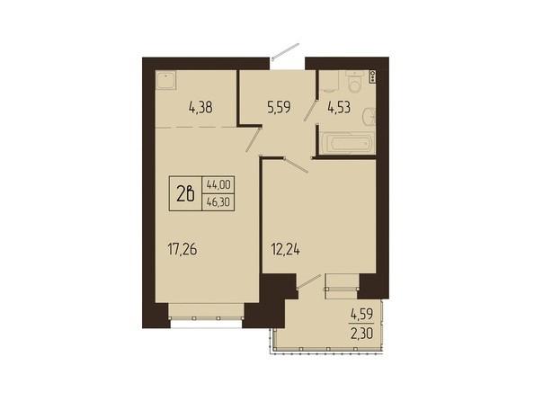 Планировки Жилой комплекс СВОИ ЛЮДИ  - Планировка двухкомнатной квартиры 46,3 кв.м