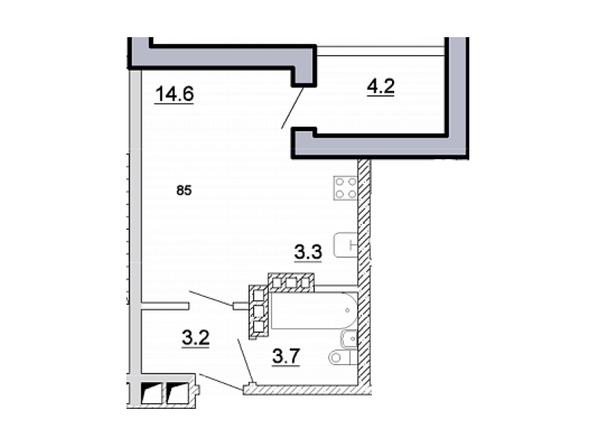 Планировка 1-комн 28,8 м²
