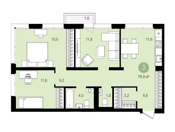 Планировка 3-комн 76,71 - 76,91 м²
