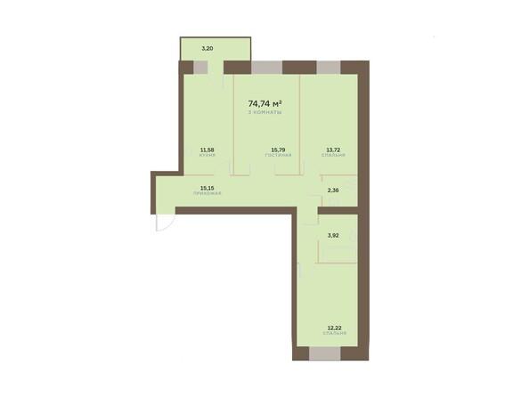 Планировки Жилой комплекс Академгородок, дом 1, корп 3 - Планировка трехкомнатной квартиры 74,74 кв.м