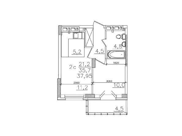 Планировки Жилой комплекс ЗОЛОТАЯ НИВА, дом 1 - Планировка двухкомнатной квартиры 35,7 кв.м