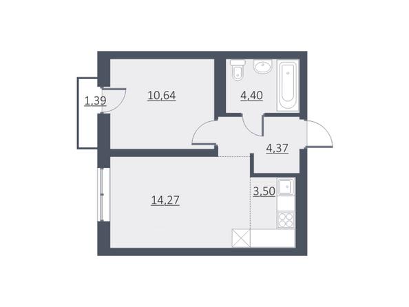 Планировки Жилой комплекс ДУНАЕВСКИЙ, дом 3 - Планировка однокомнатной квартиры 37,39 кв.м