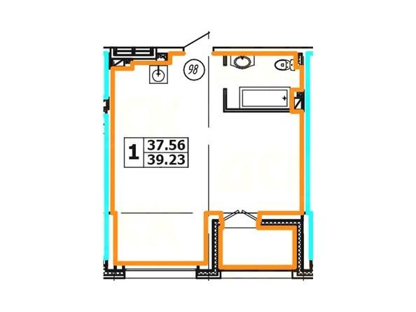 Планировка 1-комнатной квартиры 39,23 кв. м