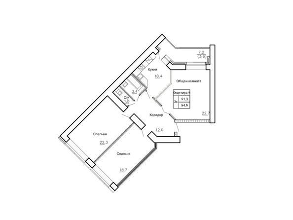 Планировки Жилой комплекс НОВАЯ ПРИСТАНЬ, дом 4 - Планировка трёхкомнатной квартиры 94,9 кв.м