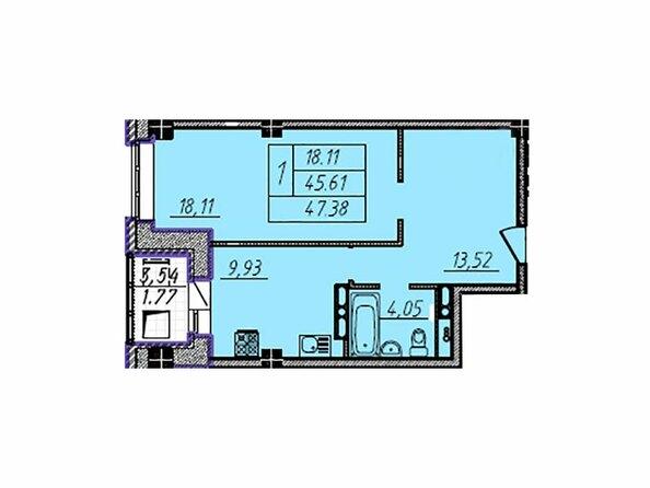Планировка 1-комн 47,38 - 47,76 м²
