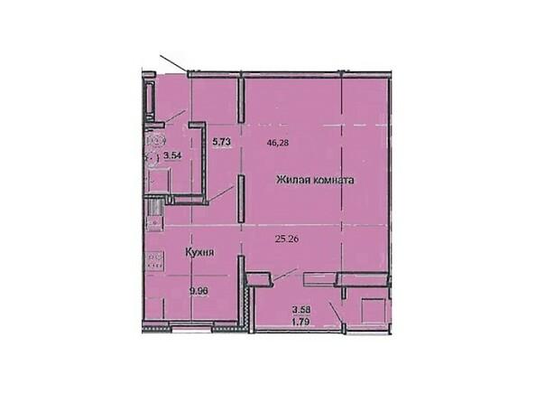 Планировка 1-комн 46,28 м²