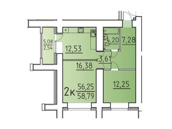 Планировка 2-комн 58,79 м²