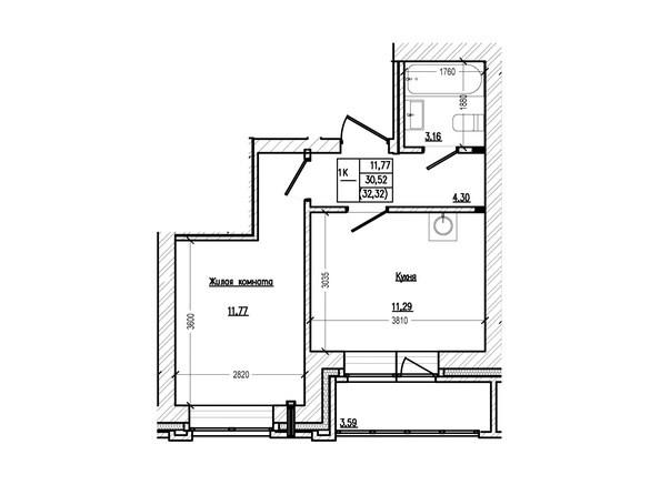 Планировка 1-комн 32,32, 33,7 м²