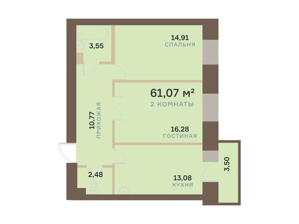 Планировка 2-комн 61,07 - 61,12 м²
