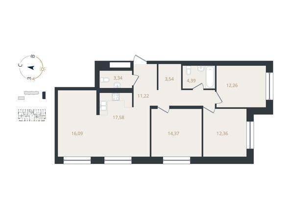 4-комнатная 95,19 кв.м