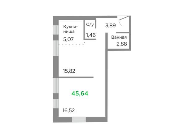 Планировки Жилой комплекс ЯСНЫЙ БЕРЕГ, дом 11 - Планировка двухкомнатной квартиры 45,64 кв.м