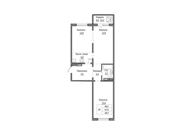Планировки МОТОР, корпус 1 - Планировка трёхкомнатной квартиры 69,7 кв.м