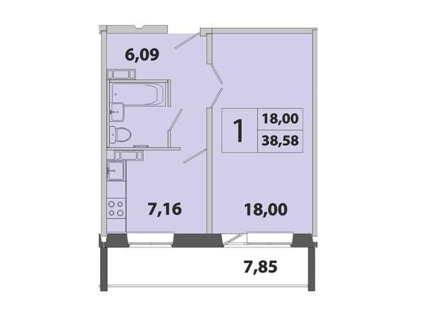 1-комнатная 38.58 кв.м