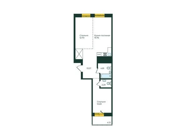 2-комнатная 70,95 кв.м