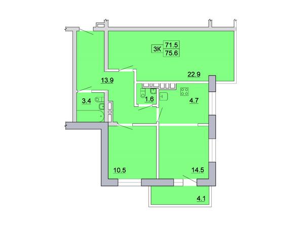 Планировка 3-комн 75,59, 75,6 м²