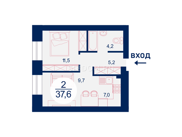 Планировка двухкомнатной квартиры 37,6 кв.м