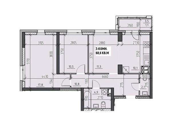Планировки Жилой комплекс НА ВЫСОТЕ, 2 этап - Планировка трехкомнатной квартиры 68,6 кв.м