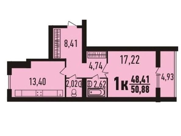 1-комнатная 51.35 кв.м
