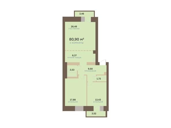 Планировка 3-комн 80,9 м²