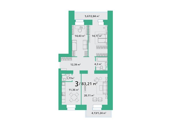 3-комнатная 83,21 кв.м