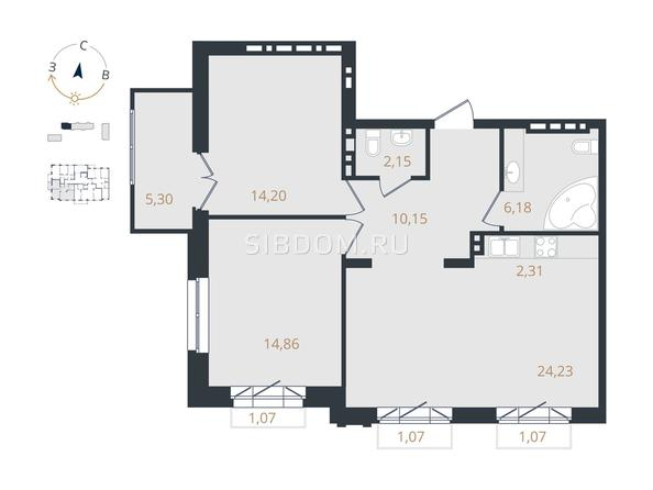 3-комнатная 73,91 кв.м