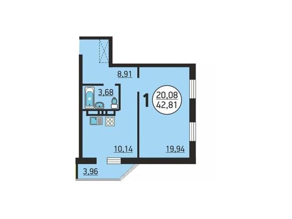 Планировка 1-комн 42,81 м²
